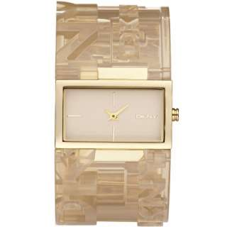 DKNY BEIGE LOGO CLEAR ACRYLIC WITH GOLD TONE ACCENT WATCH NY8152 NEW