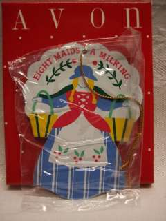 AVON TWELVE DAYS OF CHRISTMAS METAL ORNAMENT EIGHT MAIDS A MILKING 12