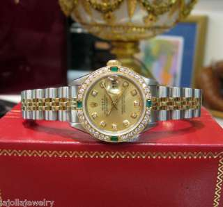 LADIES ROLEX OYSTER PERPETUAL DATEJUST TWO TONE GOLD DIAMOND EMERALD
