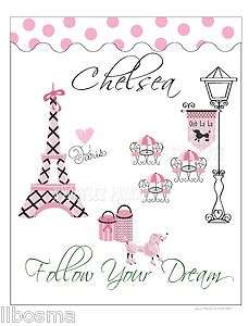 Paris France Chic Teen Girl Wall Art Name Print~Follow Your Dream