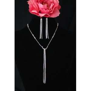 Moderne Bridal Wedding Prom Crystal Y Necklace Earrings Set