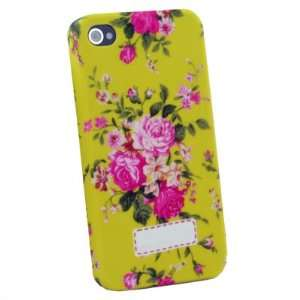 Flower Slim Hard Case Cover For iPhone 4 4G Yellow Cell