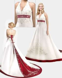 Store White/Red Satin Wedding Dress Size* 8 10 12 14 16