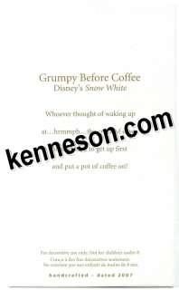 Grumpy Before Coffee Disney Snow White Hallmark 2007