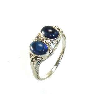 Old Antique Diamond Sapphire Deco Vintage Estate 18K White Gold Ring 4