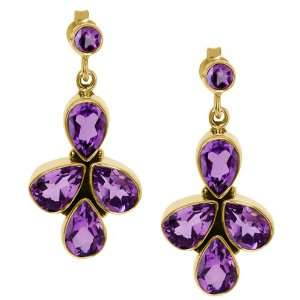8.66 Ct Pear Shape Purple Amethyst Gold Plated Sterling
