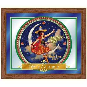 Miller High Life Beer Girl Moon Wood Frame Wall Mirror