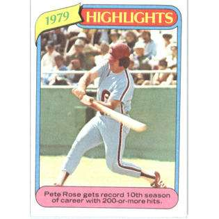 1980 Topps # 4 Pete Rose Cincinnati Reds Baseball Card  Topps Fitness