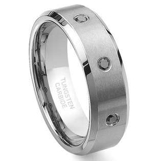 5MM Womens Two Tone Black Tungsten Ring Wedding Band  ultimatemetalsco