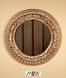 "Round 45"" Ornate Gold Beveled Mirror Frame"