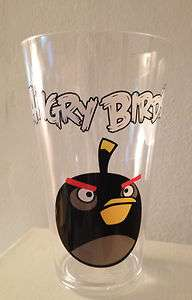 Angry Birds Black Bird Clear Plastic 23oz Tumbler NEW 022286920483