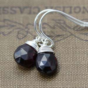 Garnet Faceted Briolette Silver Wire Wrap Earrings