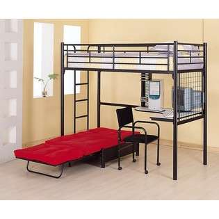 Black Finish Metal Bunk Bed w/Futon Desk Chair CD Rack  Coaster For