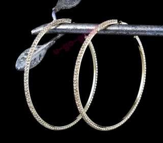 Rhinestone Thin Hoop Earrings (Silver / Gold   7 Sizes)