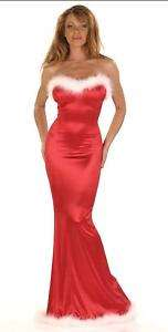 Sexy Red Strapless Satin Holiday Evening Feather Gown