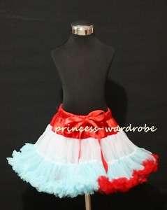Xmas Christmas Red White Light Blue FULL Pettiskirt Skirt Tutu Dress