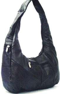 LEATHER Shoulder Bag PURSE Hobo Black NWT Large Handbag Tote NEW