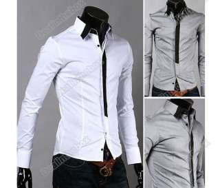 Two Colors Mens Casual False Tie Slim fit Stylish Long Sleeve Shirts