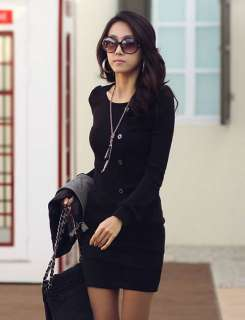 Fashion Korea Women Sexy Five Buckle Round Crew Neck Long Sleeve