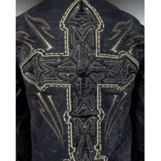 ROAR WOVEN Button shirt MEDITATION II 2 in Black With STONES & CROSSES