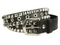 Snap On Two Row Punk Rock Silver Star Studs with Grommets Leather Belt