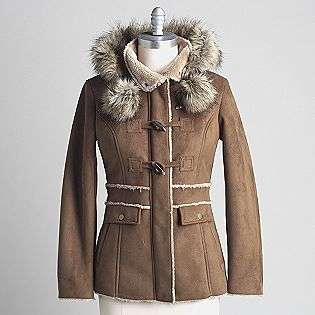 Hooded Faux Fur Lined Coat  Braetan Clothing Womens Outerwear