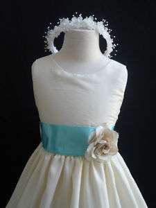 New IVORY AQUA/POOL BLUE Christmas wedding girl dress