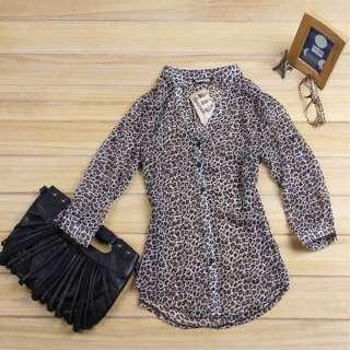 Chic Women Leopard Print Button Down Shirt Chiffon Blouse Top Size XS
