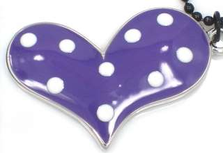 New Polka Dot Purple White Heart Charm Pendant Necklace