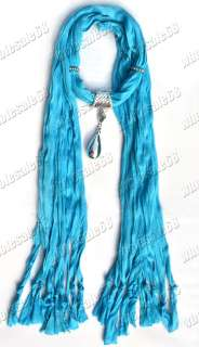 New Blue Fashion Lady Jewelry Scarves Cotton Neck Soft Scarf pendant