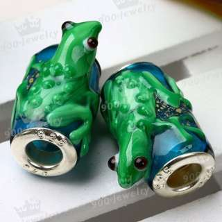 5x Lampwork Glass* Green Frog European@ Big Hole Beads