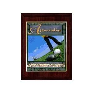 Appreciation (Golf) 10 x 13 Plaque with 8 x 10 Gold