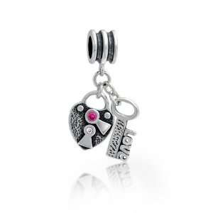 925 Silver Pink CZ Heart Lock Key Love Dangle Charm Fits Pandora Bead
