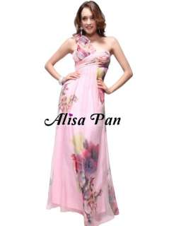One Shoulder Print Ruffles Flower Chiffon Long Prom Gown 09585