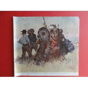 , 1938 Print Art (Cowboys and Indians) Orinigal Vintage Magazine Art