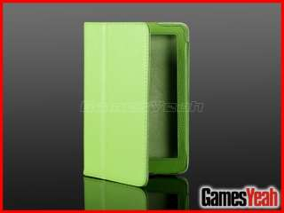 Green F Kindle Fire PU leather Case Cover/Car Charger/USB Cable/Stylus