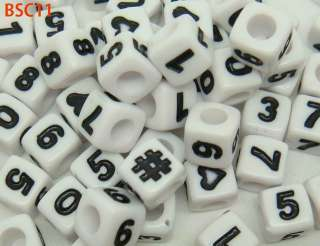 MIXED ACRYLIC CHARM BEADS INITIAL ALPHABET LETTER & NUMBER JEWELRY FIT