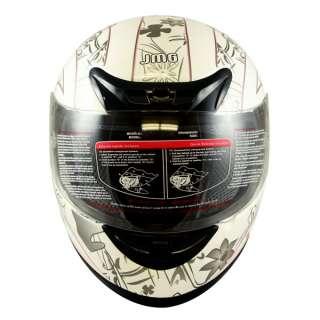 Motorcycle Full Face Sports Bike Helmet White PINK BUTTERFLY DOT Size