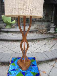DANISH MODERN TALL WALNUT SCULPTURAL LAMP WITH SHADE MID CENTURY