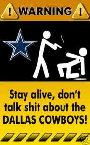 Decal Sticker Warning Sign NFL Dallas Cowboys   3