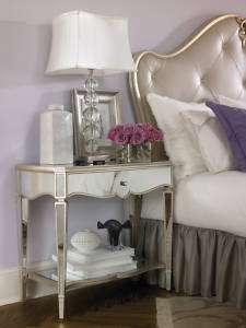 Mirrored Silver Leaf Rococo Nightstand