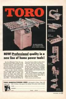 1955 Toro Power Tools Table Jig saw jointer Sander Ad.