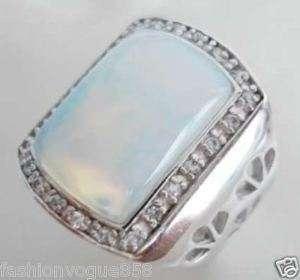 Blue fire opal silver mens Gemstone ring size 7.8.9.10