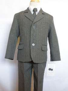 New Baby,Toddler & Boy Easter Formal Wedding Tuxedo Suit Gray Pin