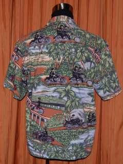 SHORT SLEEVE GREEN BROWN MOTORCYCLE HAWAIIAN SHIRT MENS SMALL