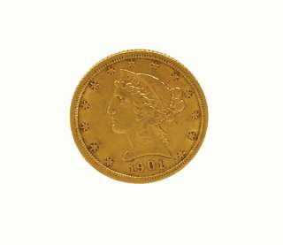 1901 UNITED STATES OF AMERICA 22K GOLD $5 DOLLAR COIN