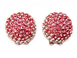 Round Pink Swarovski Crystal Clip Clasp Pierced Earring