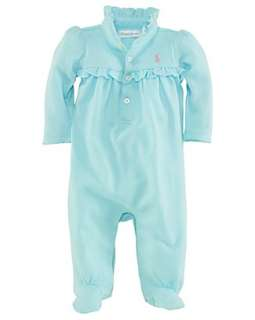Ralph Lauren Childrenswear Infant Girls Ruffle Collar Polo Coverall