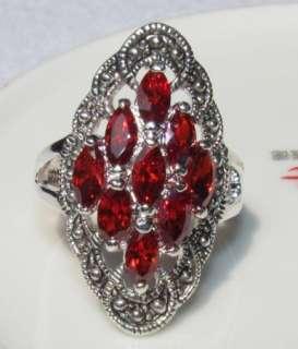 Ring 18K White gold GP red SWAROVSKI CRYSTAL RINGS