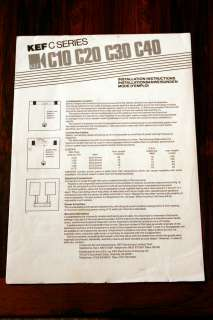 KEF C10 C20 C30 C40 Speaker Owners Manual *Original*